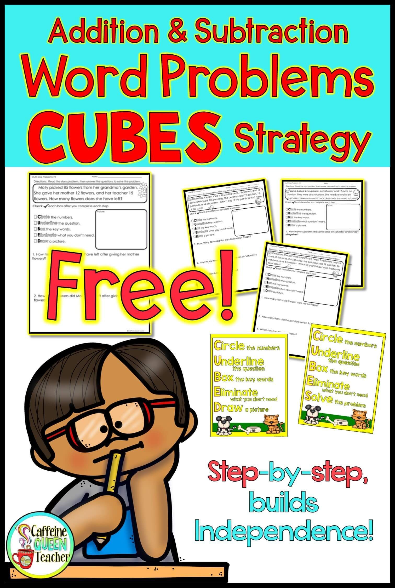 Free Worksheet Addition And Subtraction Word Problems Strategy Caffeine Queen Teacher Subtraction Word Problems Word Problem Strategies Word Problem Worksheets Two step addition and subtraction word
