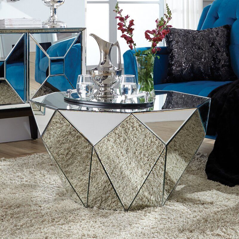 Holborn Faceted End Table End Tables Mirrored Furniture Mirrored Accent Table