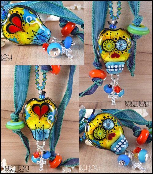 Lampwork beads dia del muertos | Dia De Los Muertos Glamour Scull Art Glass by MichouJewelry, $139.00