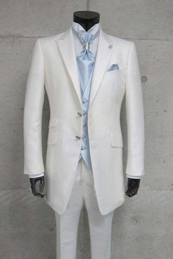 free shipping custom made wedding groom suit white silk wool ...