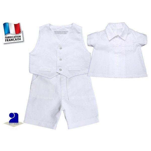 Costume enfant en lin blanc pour un baptême ou un mariage du 3 mois au 6 ans  Petit costume d été pour un garçon 93725d8a8e2