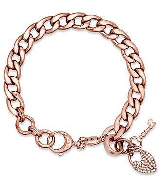 Fossil Bracelet Rose GoldTone Pave Lock Charm Bracelet Fashion