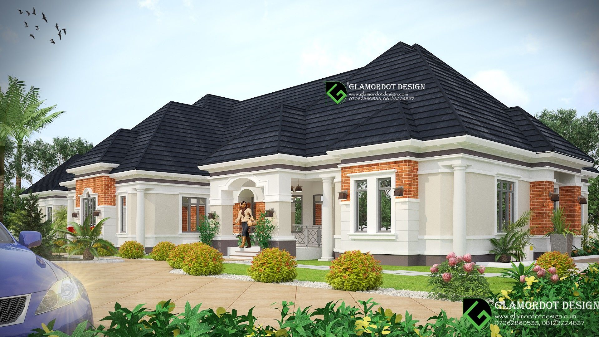 Architectural Design Of A 5 Bedroom Bungalow With A Bq And Swimming Pool All Rooms Bungalow House Design House Balcony Design Architectural Design House Plans