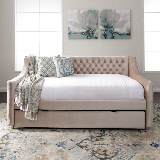 Jerome S Furniture Offers The Vivvian Twin Day Bed With Trundle In Champagne At The Best Prices Possib Daybed Room Full Daybed With Trundle Daybed With Trundle
