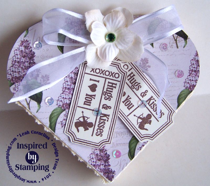 Inspired By Stamping, Vintage Tickets, Spring Lilacs paper pad, valentines heart box, purple, white, love gift, Leah Cornelius