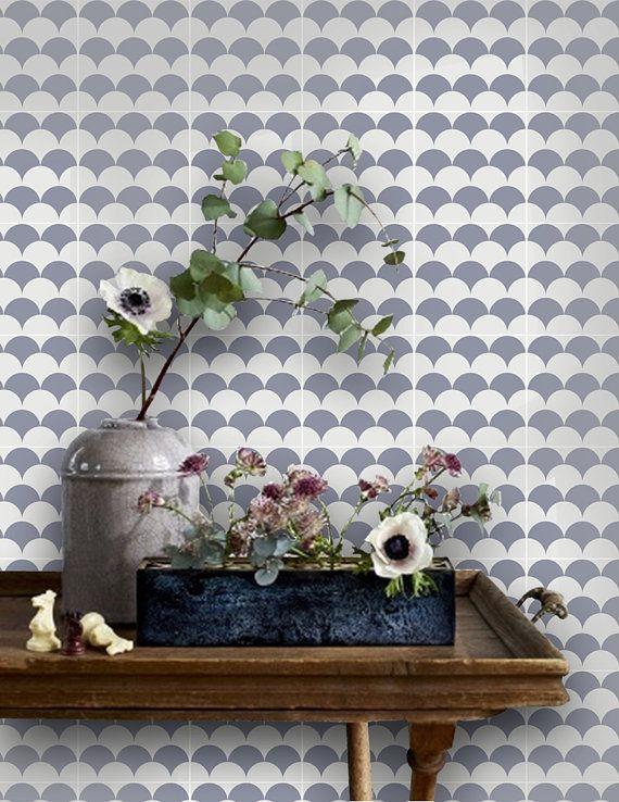 Merveilleux CLEARANCE!! Koi Scallop Wallpaper In Grey Removable Vinyl Wallpaper   Peel  U0026 Stick   No Glue, No Mess
