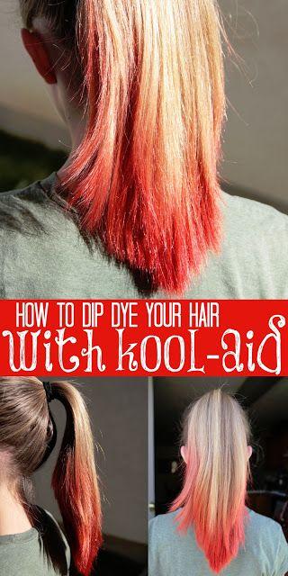 how to dip dye your hair with kool aid katzen pinterest frisuren und ideen. Black Bedroom Furniture Sets. Home Design Ideas
