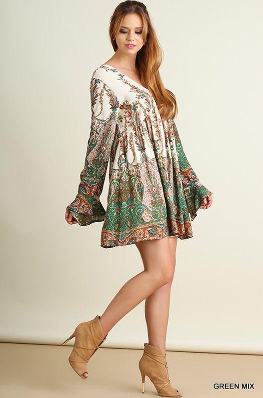 ade9fd6e5d5c3d S-L UMGEE Green Paisley Bell Sleeve Full Swing Dress Boho Hippie Loose  Tunic Top  17.99