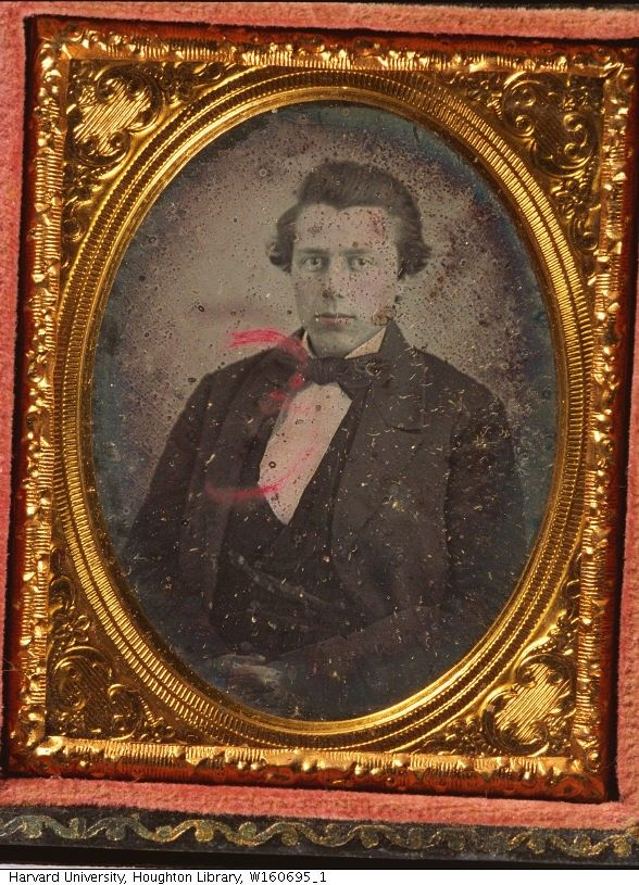 """Man. Date: between 1840 and 1860. Daguerreotype, Case cover material: paper, full case. General: A large, red """"3"""" has been handwritten on the cover glass.Photographer unidentified."""