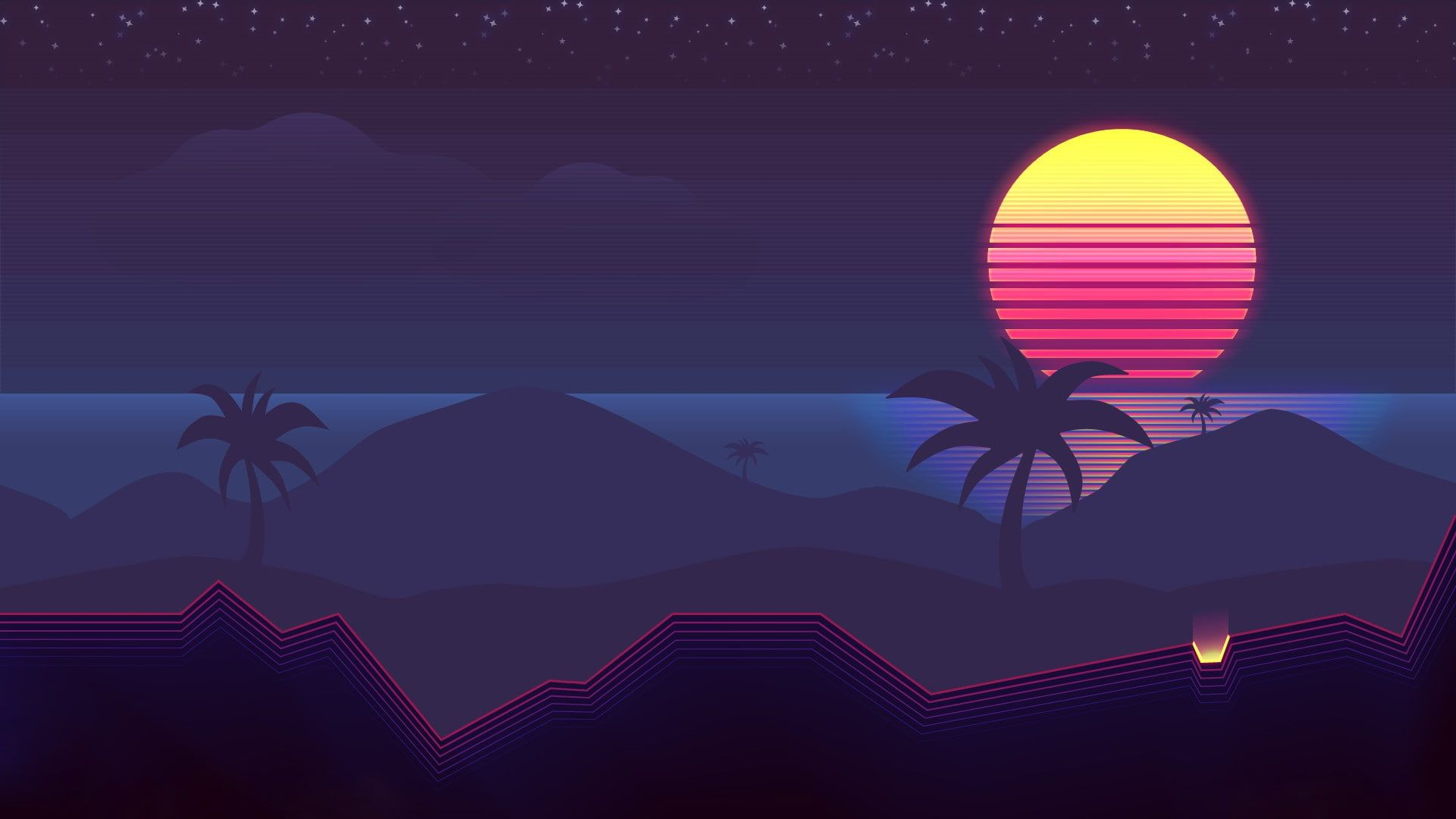 The Sun Music Palm Trees Background 80s Neon 80 S Synth Retrowave Synthwave New Retro Wave Futures Neon Wallpaper Vaporwave Wallpaper Heaven Wallpaper