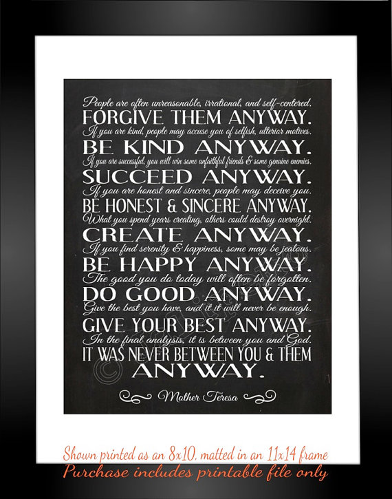 image about Mother Teresa Do It Anyway Printable known as Mom Teresa \
