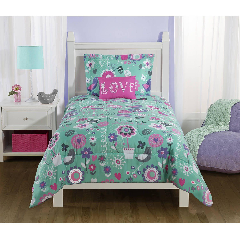 Mainstays Kids Spring Birds Bedding Comforter Set Walmart Com