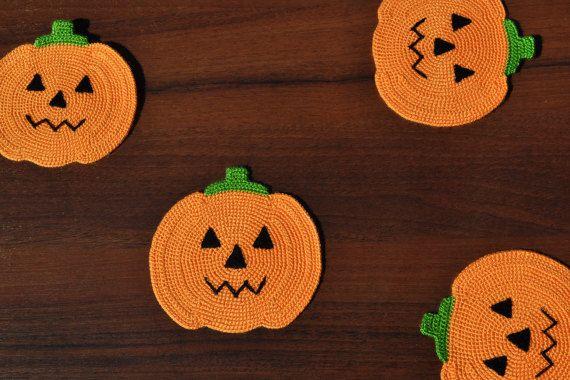 Kết quả hình ảnh cho Pumpkin Crochet Coasters