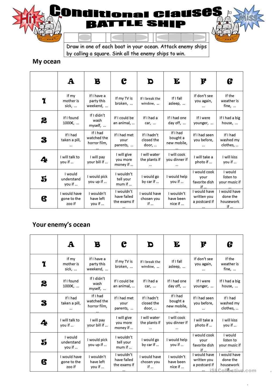 Mixed conditionals (1,2,3) Battleship (con imágenes