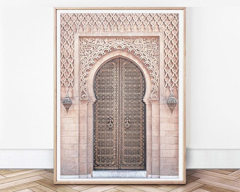 Moroccan Wall Art Blush Door Print Morocco Architecture Pink Etsy Moroccan Wall Art Gallery Wall Prints Pastel Wall Art