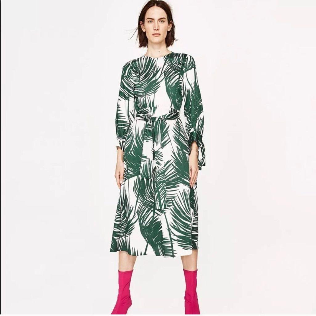 Nwt Zara Leaf Printed Long Sleeve Midi Dress Womens Midi Dresses Long Sleeve Midi Dress Pretty Dresses