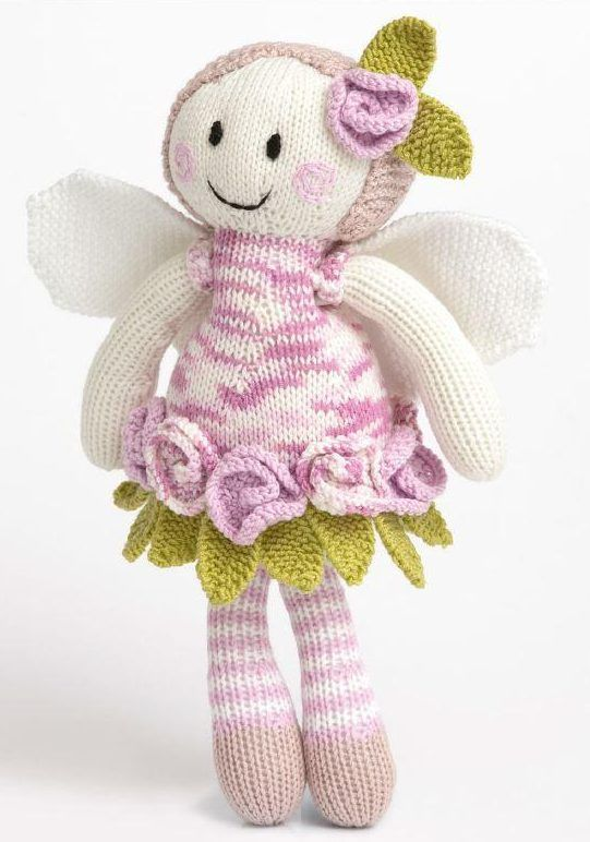 Free Knitting Pattern For Rose Fairy Doll 32cm125 Tall