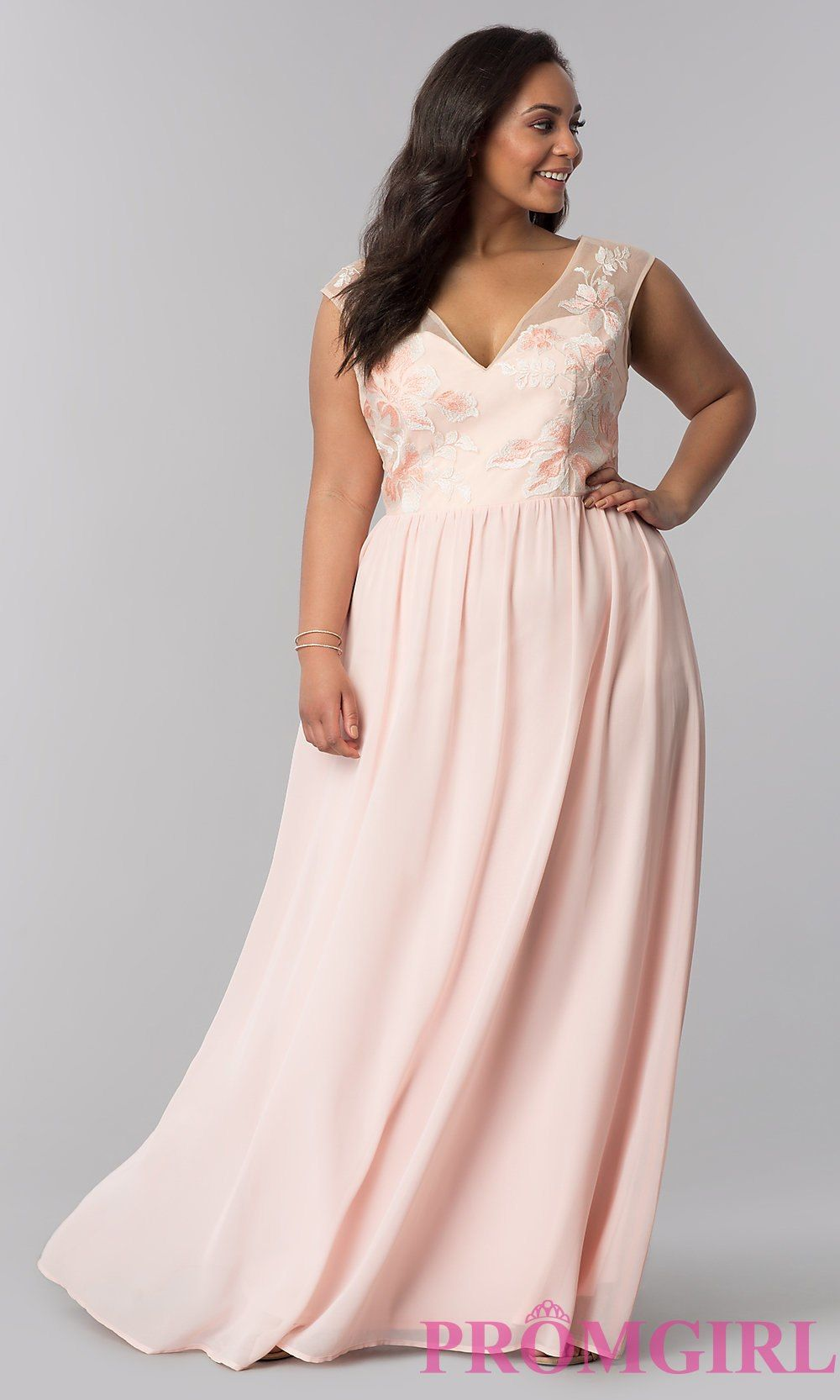 c661bc2c6b5 V-Neck Plus-Size Prom Dress in Blush Pink - PromGirl