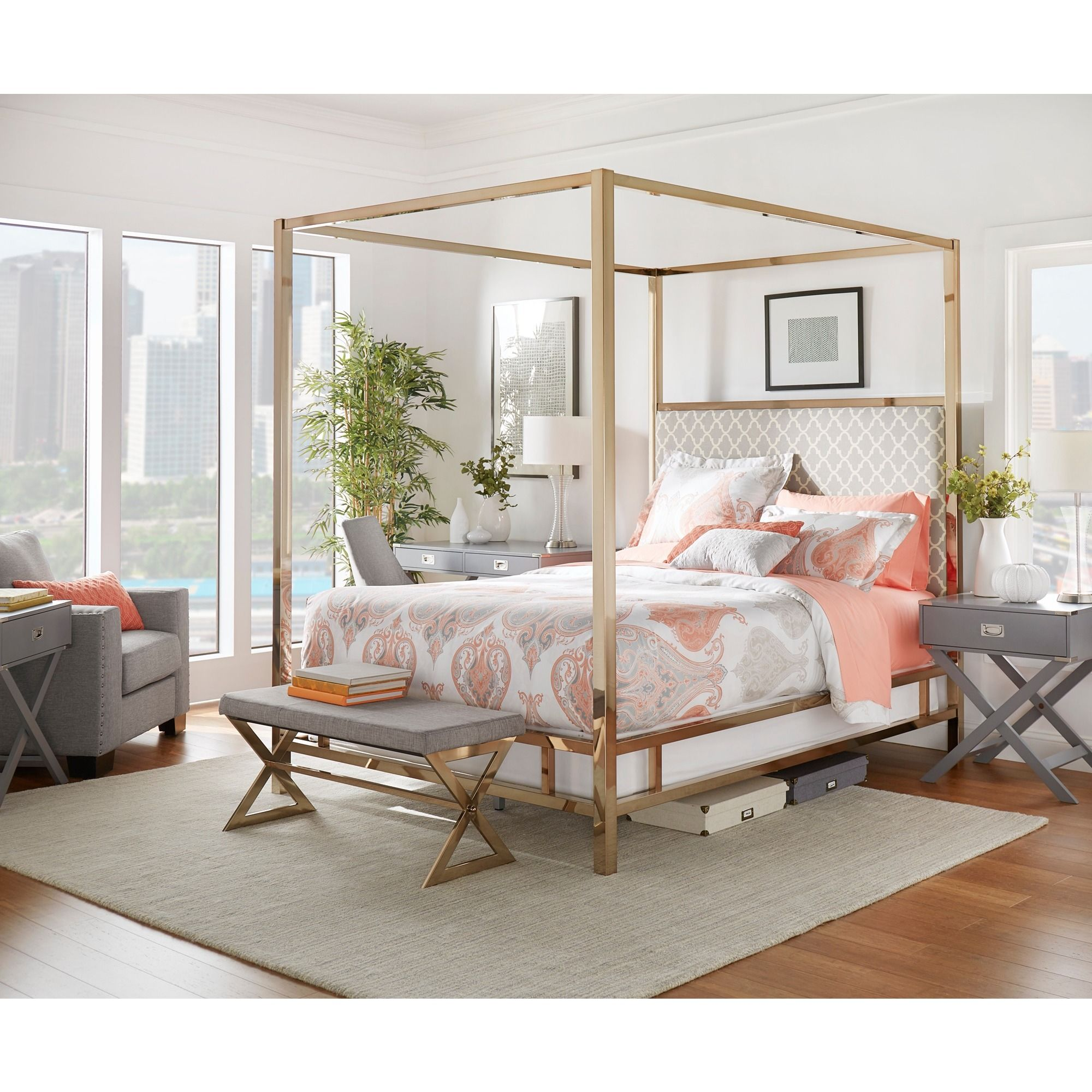 Solivita King-size Canopy Champagne Gold Metal Poster Bed by Inspire Q ( Moroccan Sky Blue Linen)