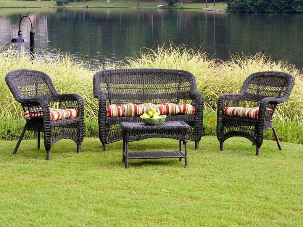 Wicker Outdoor Furniture Sets Resin Tortuga Portside Dark Roast Set