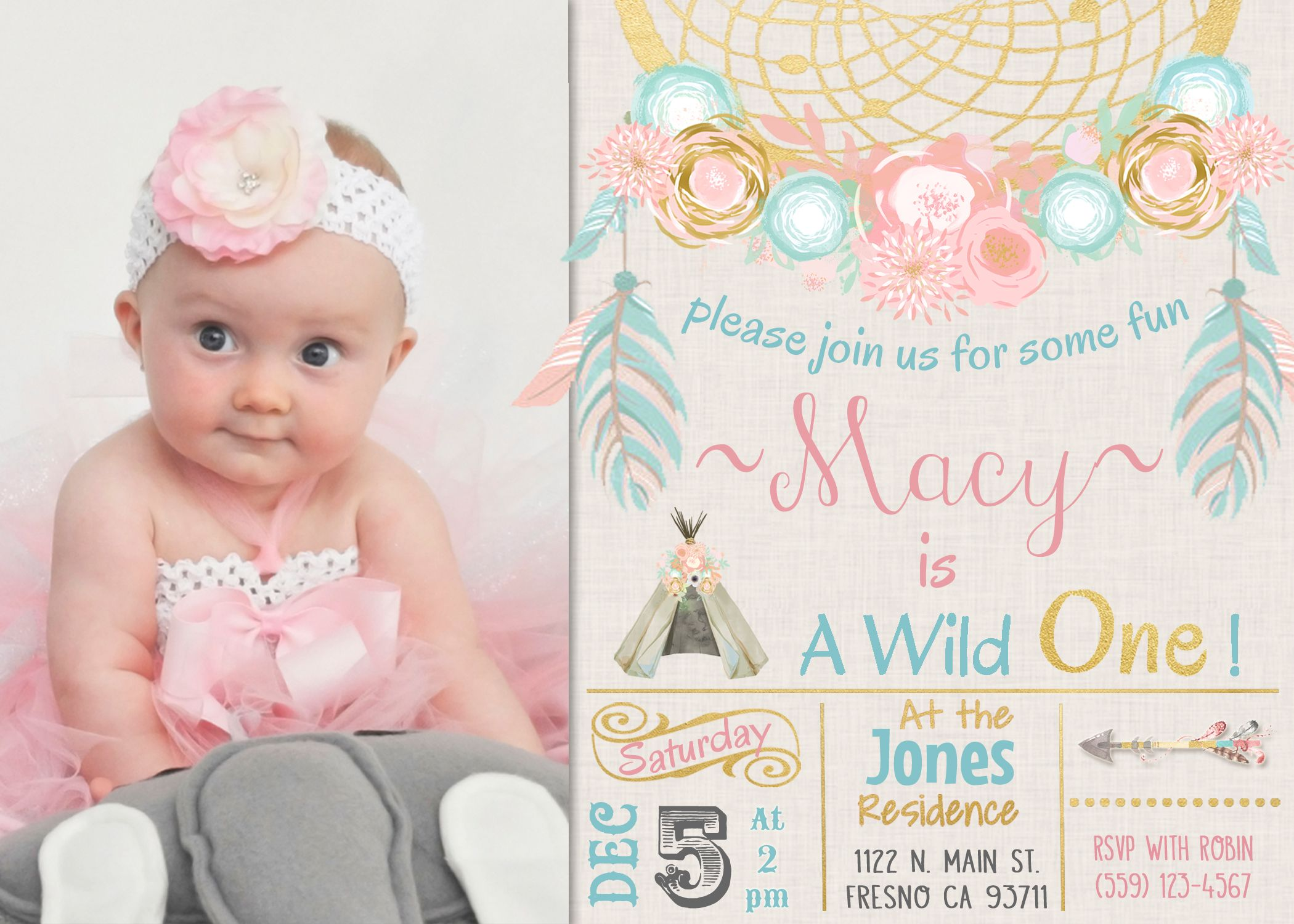 Dreamcatcher Boho First Birthday Invitation Invite Tribal Princess
