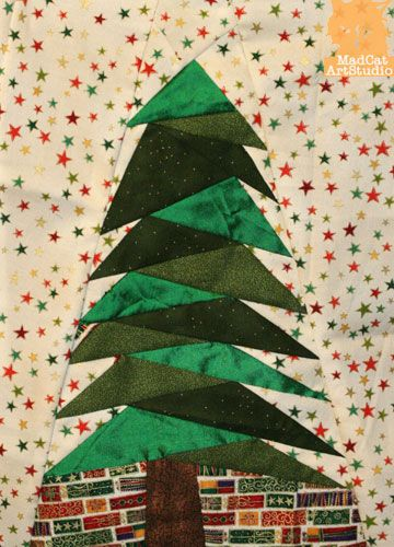 Marion Boddy Evans Art Studio Tree Quilt Pattern Fabric Christmas Trees Paper Piecing