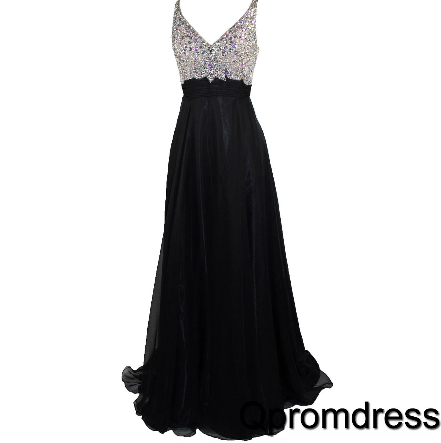 Sparkly long prom dress with straps ball gown cute black
