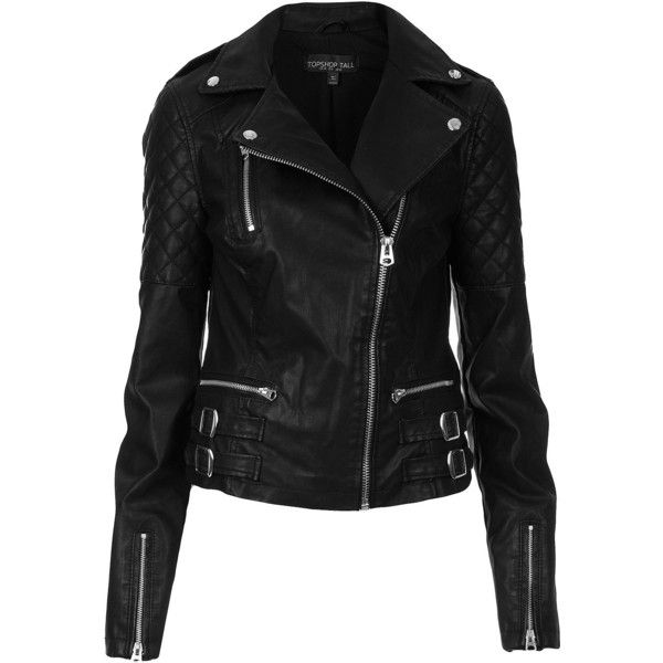 TOPSHOP Tall Biker Jacket ($50) ❤ liked on Polyvore featuring outerwear, jackets, tops, leather jackets, coats, black, biker jackets, genuine leather biker jacket, motorcycle jacket and buckle jackets