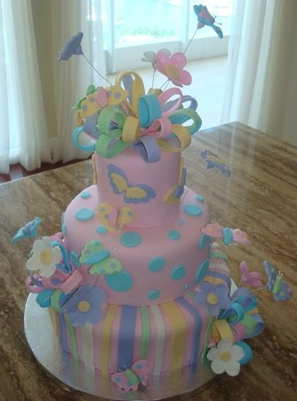 Cute pastel butterfly cake Cakes and cupcakes Pinterest