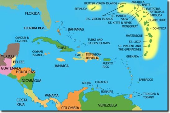 The countries and islands of Central America and the Caribbean