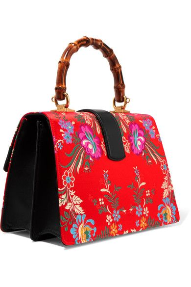 5fd8f67a7a6 Gucci - Dionysus Bamboo Medium Leather And Floral-jacquard Tote - Red