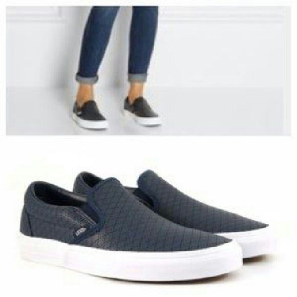487269029f Perforated Leather Slip on Vans   Navy