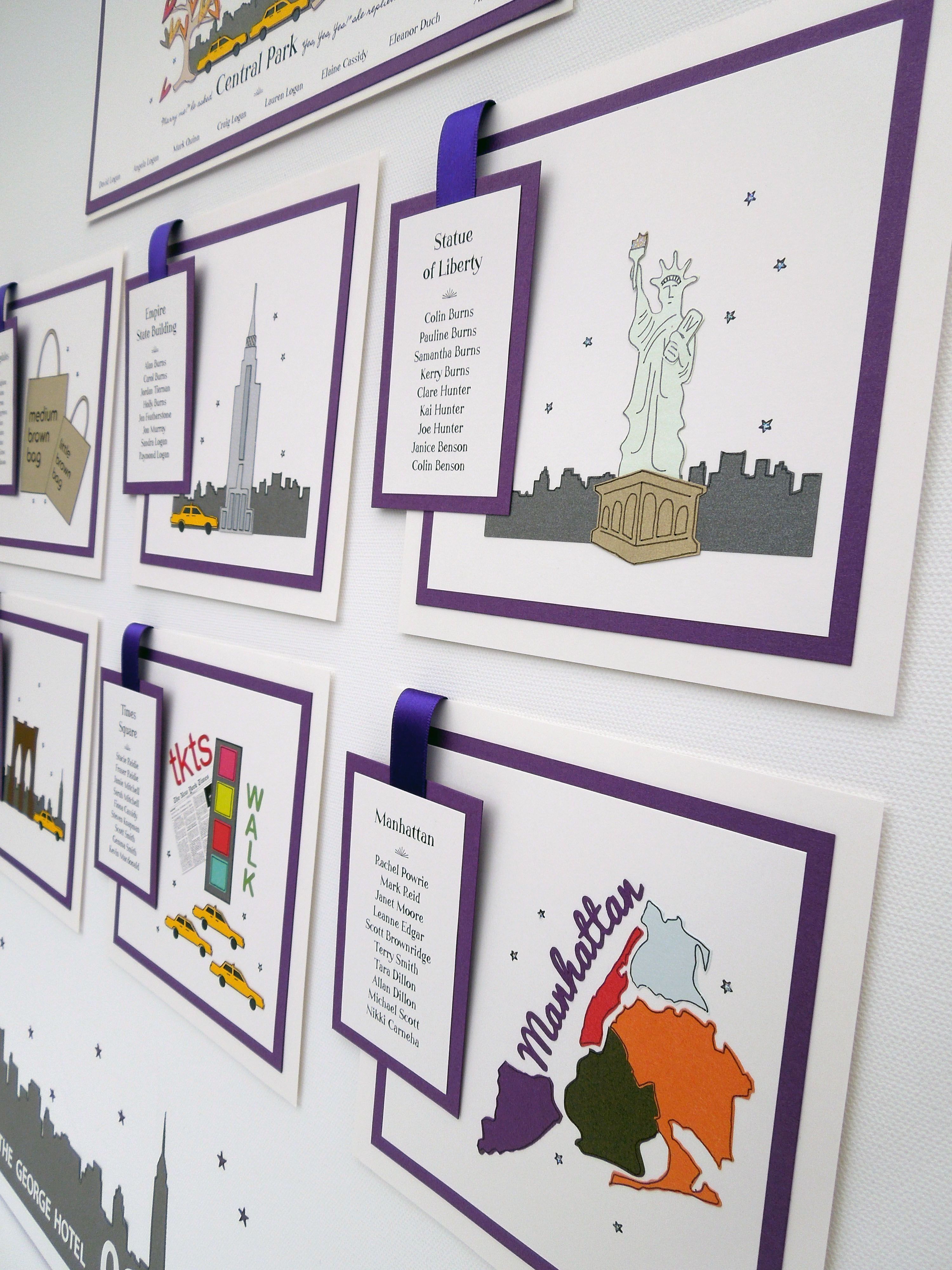 New York City themed wedding table plan in purple and ivory ...