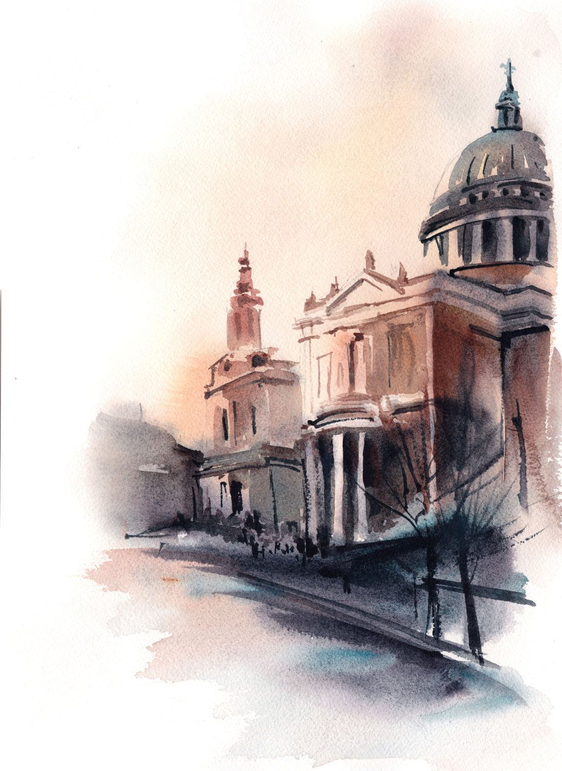 Watercolor Painting Of St Paul S Cathedral London Painting