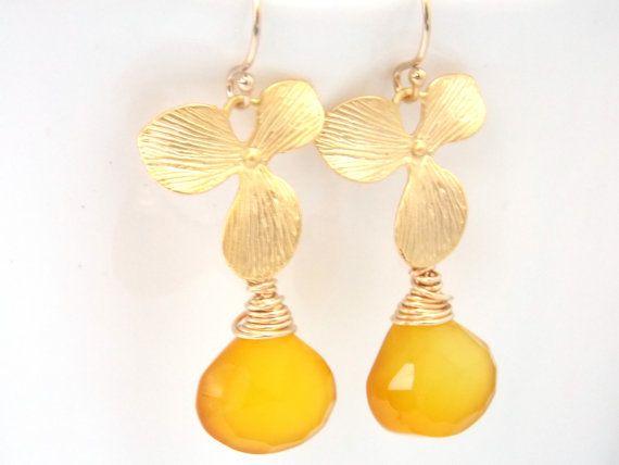 Yellow Earrings Chalcedony Earrings Gold Orchid by mlejewelry, $28.00