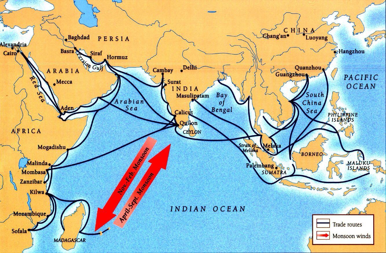Map Of Indian Ocean Trade Routes Indian Ocean Ocean China Map