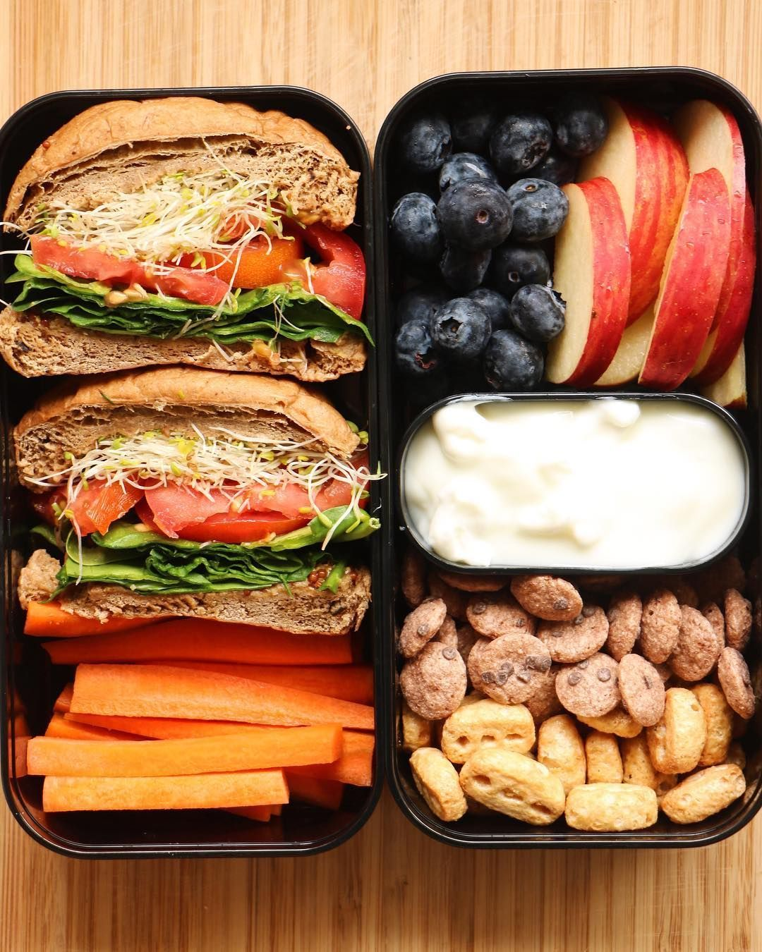 Lin on Instagram Veggie sandwich cereal and soy yogurt fruits and carrot sticks thanks to monbento whose black lunch boxes look like sleek armorclad  Veggie sandwich cere...
