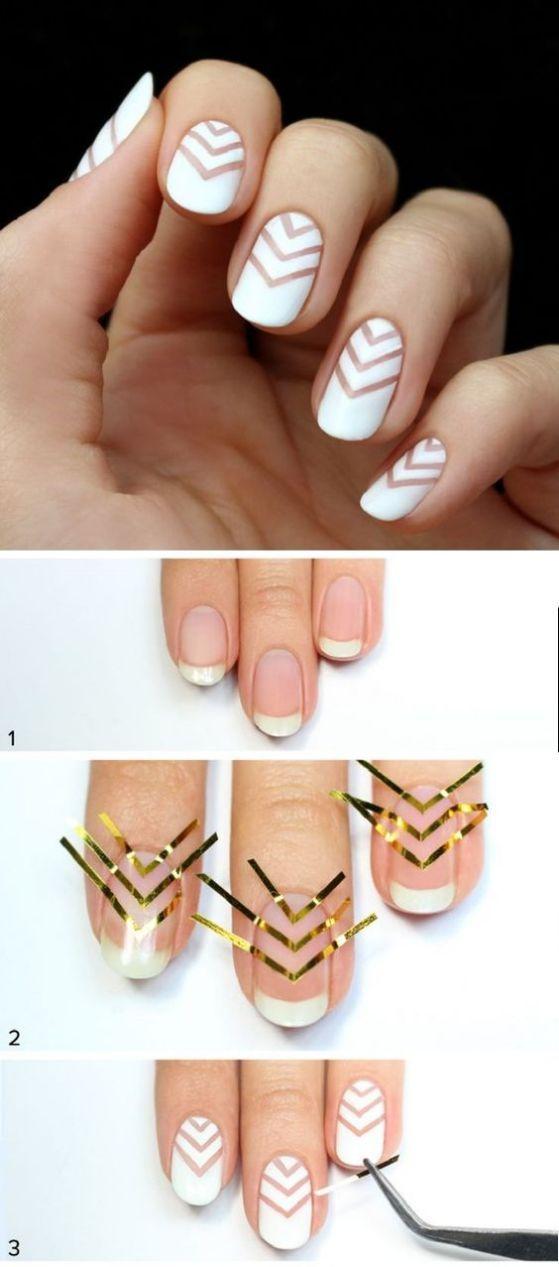 uñas con cintillas faciles | Nails | Pinterest | Uñas con cinta ...