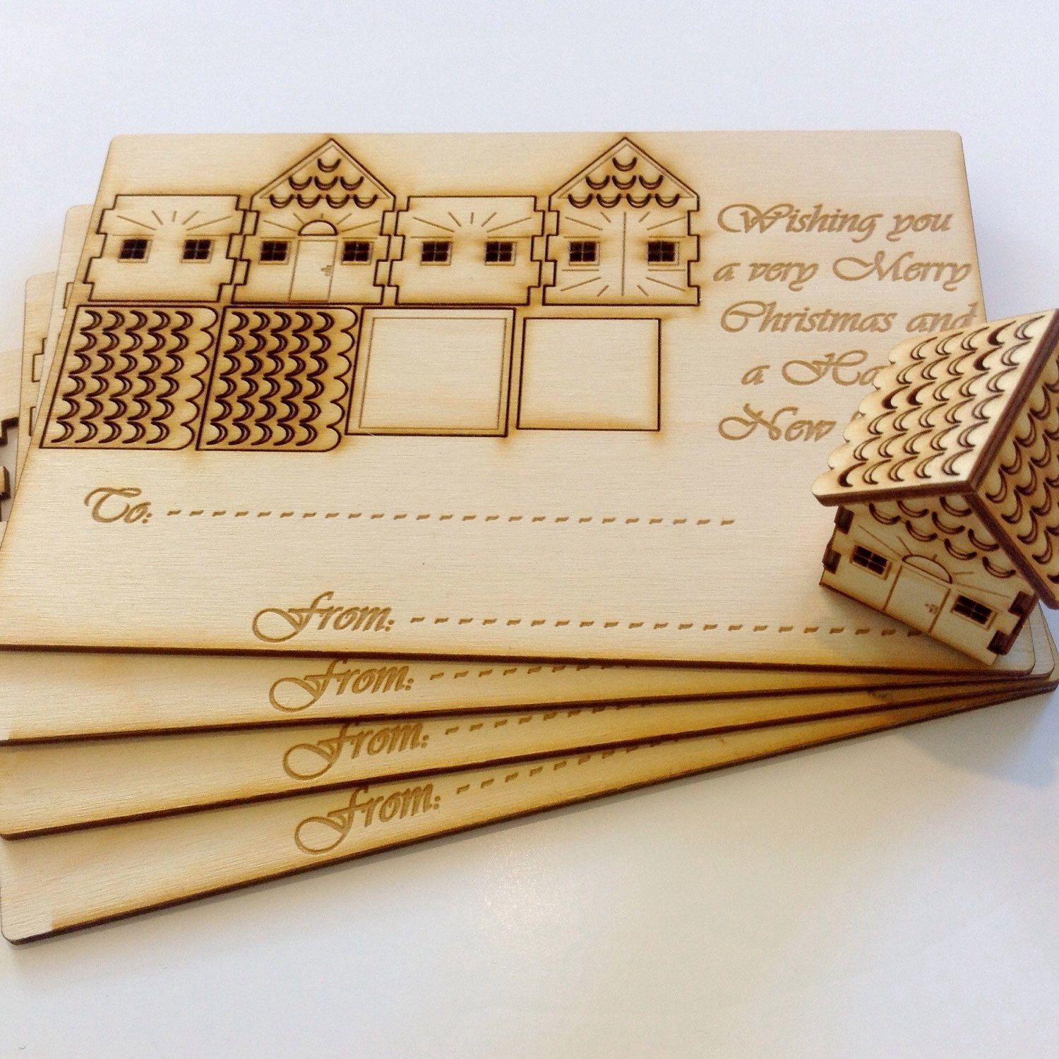 cleaver wooden christmas cards corte laser armables
