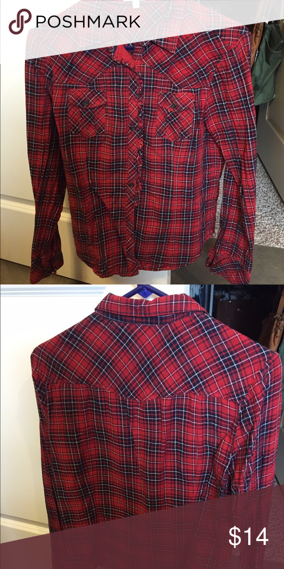 Gap navy and red plaid button up Gap size large (but fits like a medium & fitted) red and navy button up plaid shirt; has a cute ruffle detail!! GAP Tops Button Down Shirts
