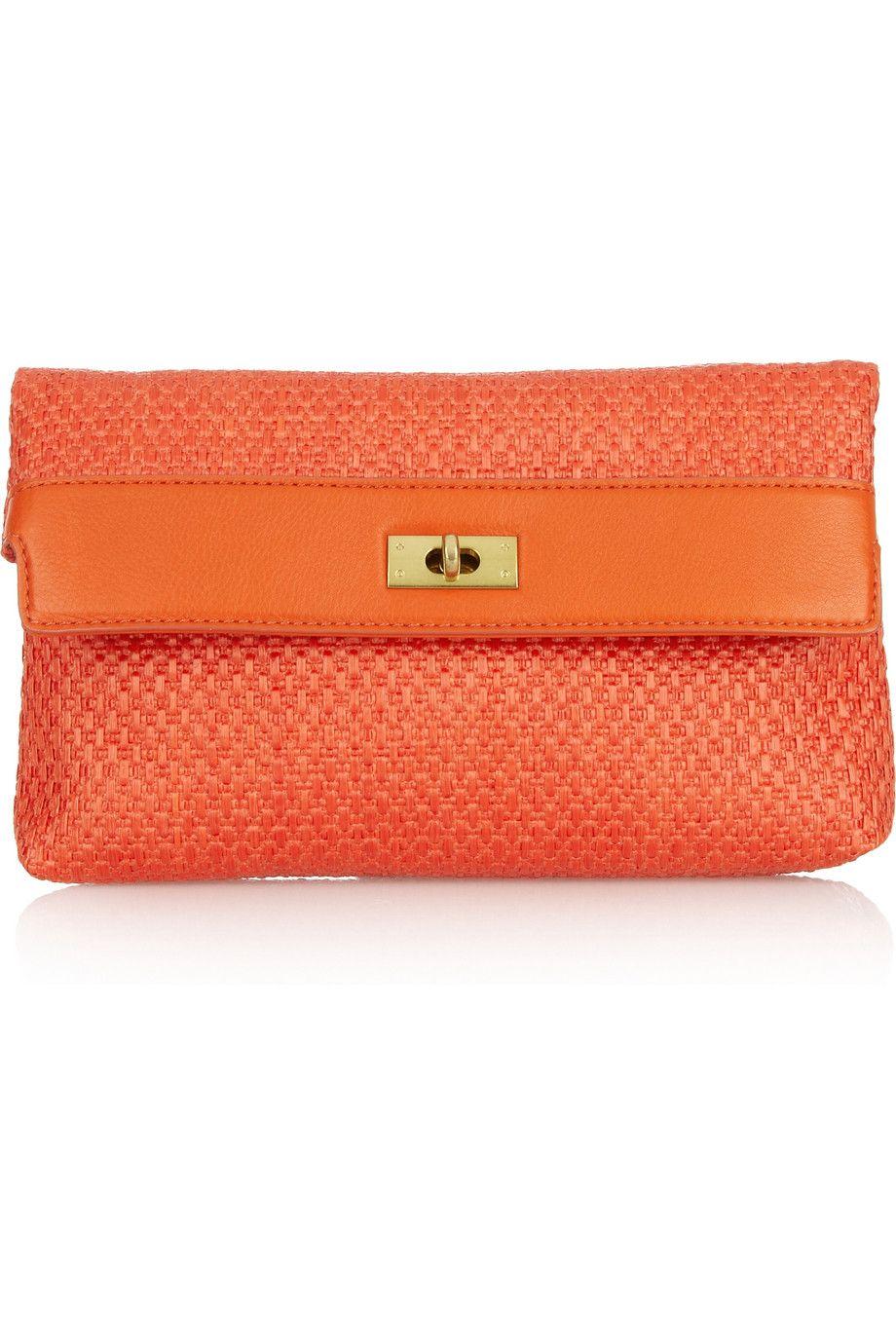 Brompton raffia and leather clutch|NET-A-PORTER.COM