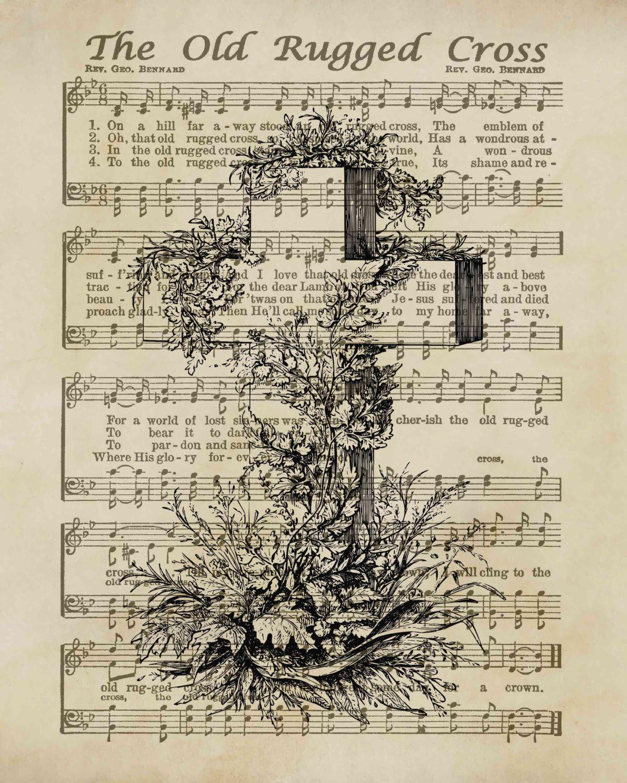 The Old Rugged Cross/ Vintage Hymn/ Easter Sign/ Digital