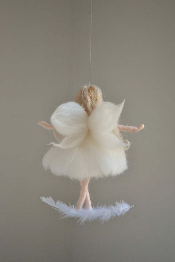 White Fairy Felted Doll Wool Ornament : Fairy on the feather #dollsdollsdolls