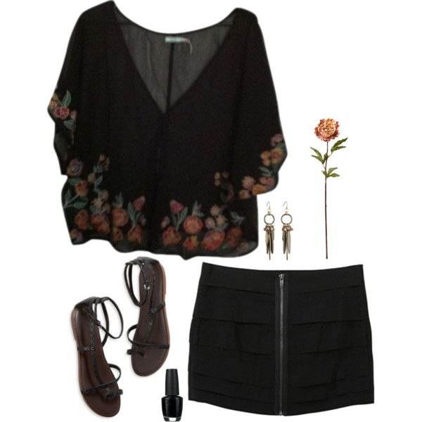 """Don't blame it on the weather"" by bbeckers on Polyvore (please don't remove the source) #outfit #croptop #blackoutfit #sandals #skirt"