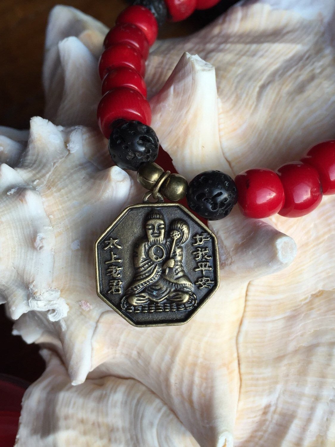 Red Coral Buddha Stretch Bracelet by HumbleMySoul on Etsy https://www.etsy.com/listing/252324611/red-coral-buddha-stretch-bracelet