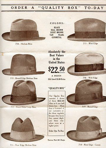 2549d63ad19 1920s men s hats came in felt or straw depending on the season. Popular  black