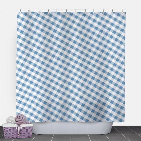 Blue Gingham Shower Curtain Pattern White Blue Gingham 71x74