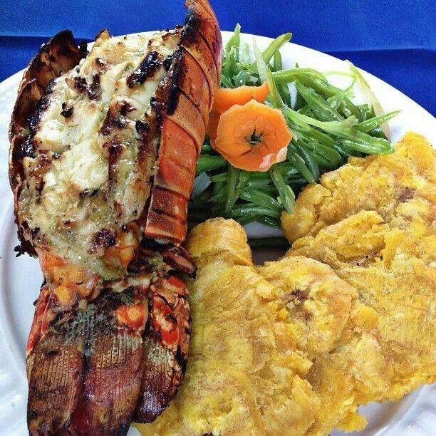 "Haitian grilled Lobster & fried plantains ""Homard griye ..."