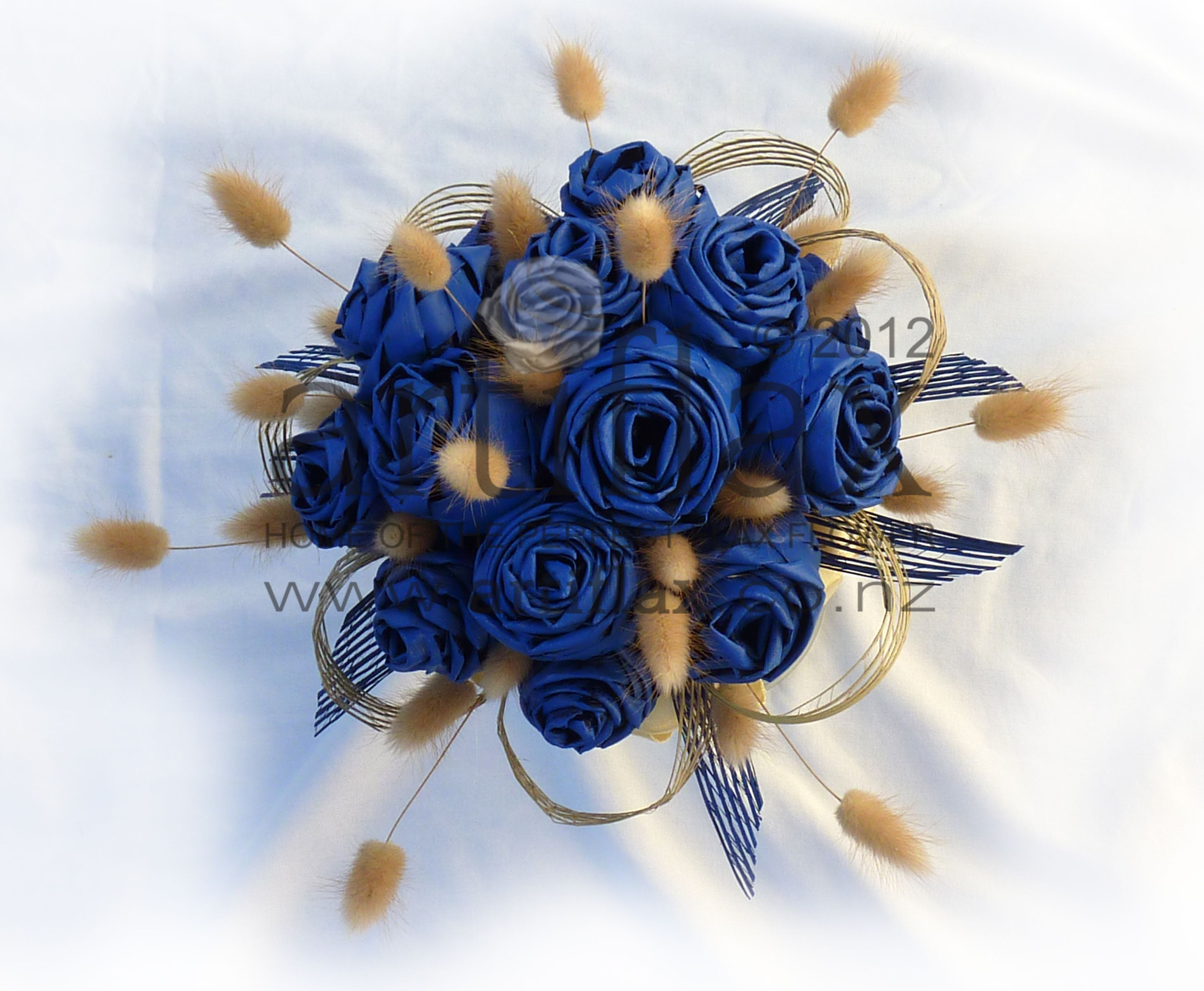 Flax Wedding Bouquet With Blue Flax Flowers And Bunnytails Wedding