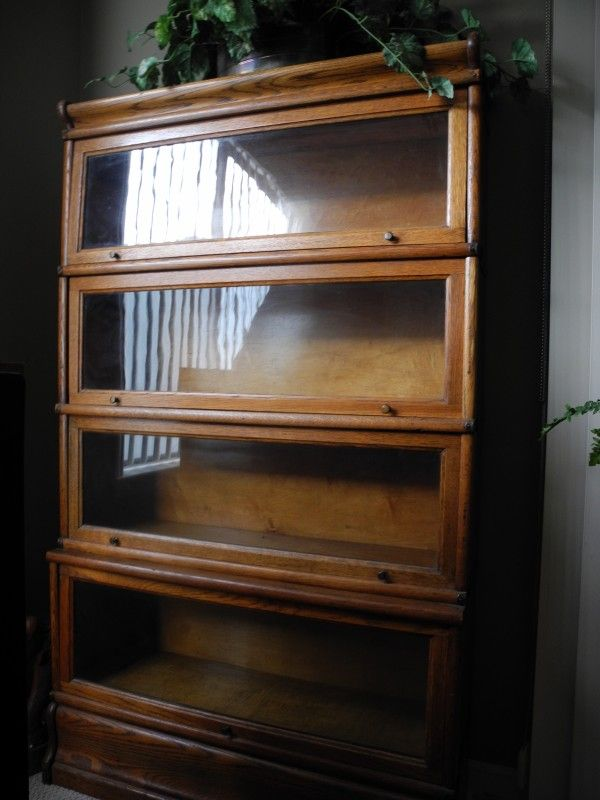 2 Oak Antique Lawyer Glass front bookcase $500 each. The pair $800 Sydney  Jenkins yard - Six Section Quarter Sawn Oak Barrister Bookcase With Leaded Glass